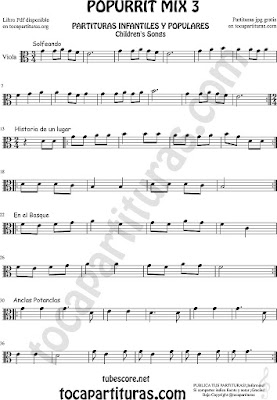 Partitura de Viola Solfeando, Historia de un Lugar, En el Bosque y Anclas Potanclas Popurrí Mix 3 Sheet Music for Viola Music Score