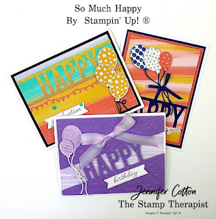 Three cards with Stampin' Up!'s So Much Happy Bundle and also using the Playing with Patterns suite and Rainbow Glimmer Paper.  #StampTherapist #StampinUp