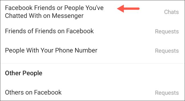 ضوابط رسائل Facebook Messenger Instagram DM