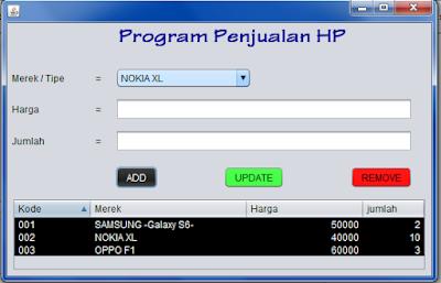 hasil%2Brun - Tutorial Mmebuat Aplikasi Penjualan HP Menggunakan Java