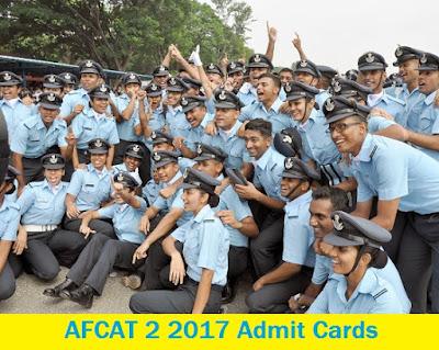 AFCAT 2 2017 Admit Cards - Download