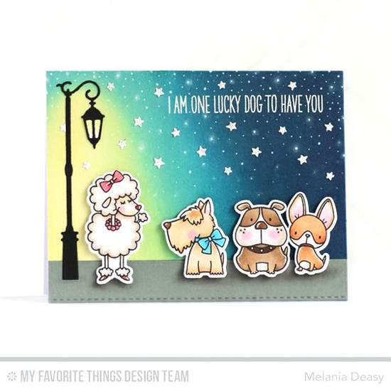 Four Perfect Pooches Card by Melania Deasy featuring Birdie Brown Lucky Dog stamp set and Die-namics and the Streetlights Die-namics #mftstamps