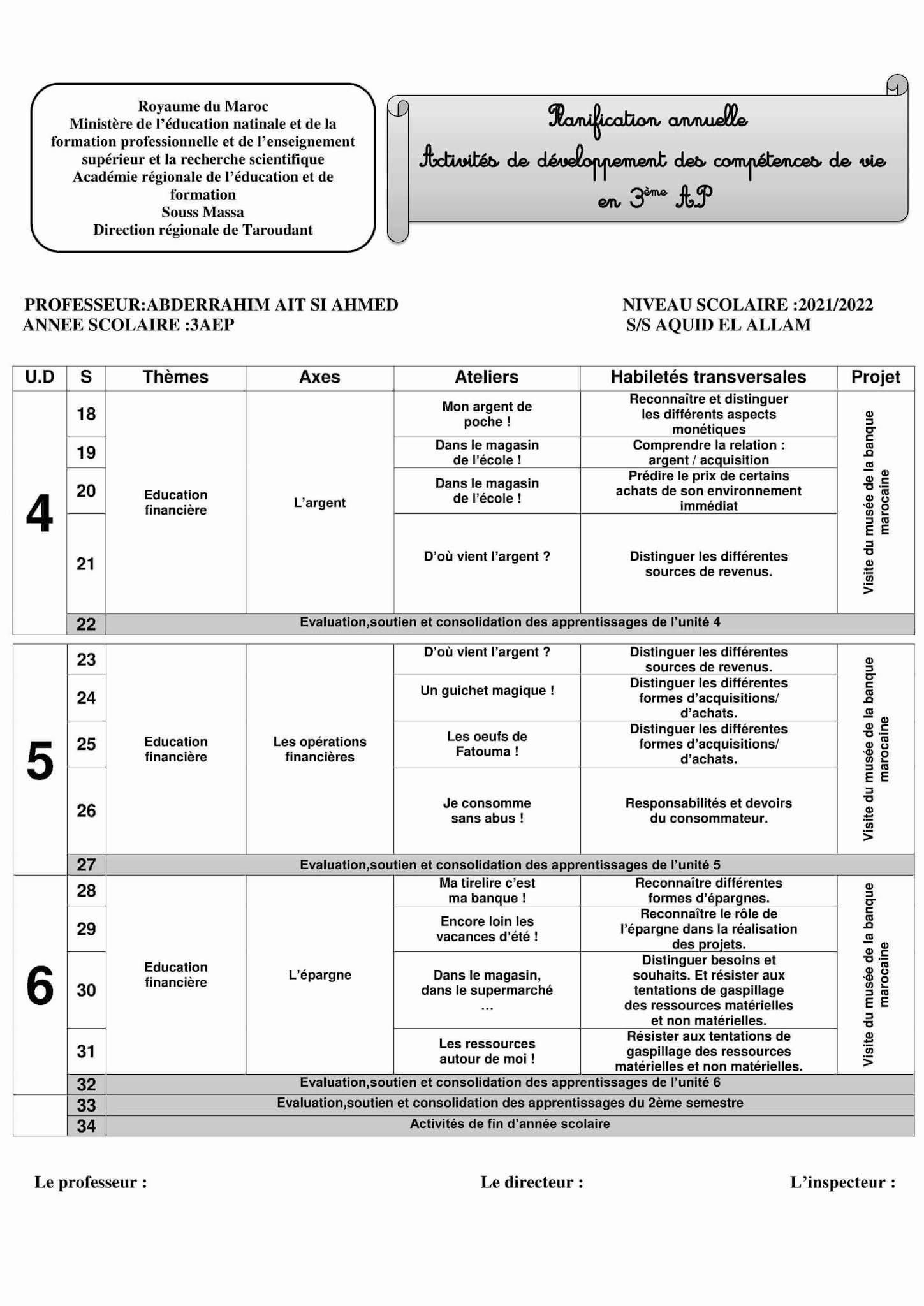 Planification annuelle Activités de développement des compétences de vie