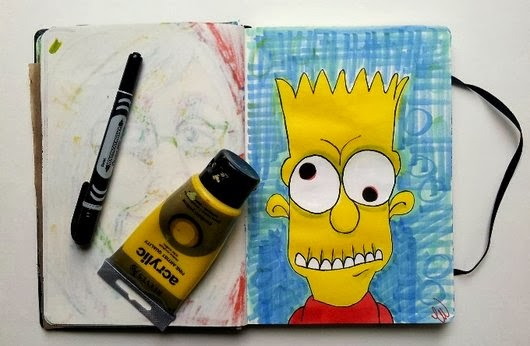 Whoopidooings: Carmen Wing - Zombie Bart Simpson in my sketchbook