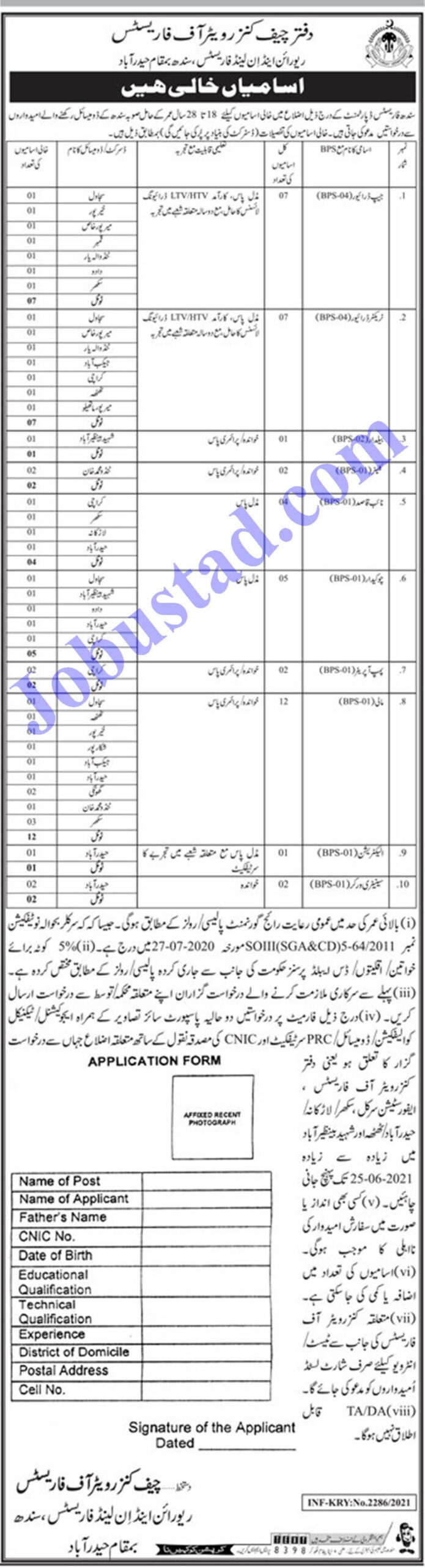 Forest and Wildlife Department Sindh Jobs 2021 Application Form - Forest and Wildlife Department Jobs 2021 Latest Vacancies