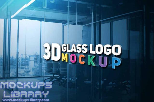3d glass logo mockup free download