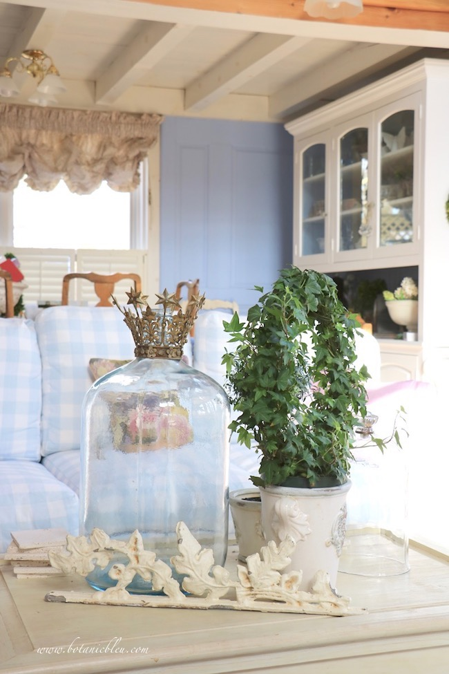 Winter French Country living room old glass water bottle with crown