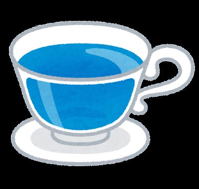 青い紅茶のイラスト
