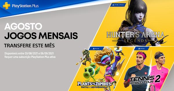 Plants vs. Zombies: Battle for Neighborville, Tennis World Tour 2 e Hunter's Arena: Legends são os jogos do mês de agosto no PlayStation®Plus