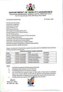 fct schools resumption date