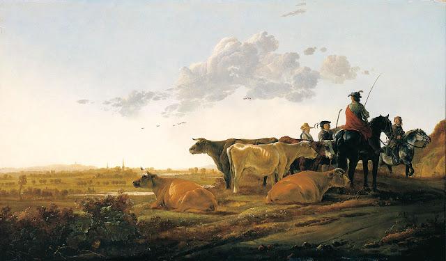 Альберт Кёйп - Пейзаж с пастухами. 1650-52