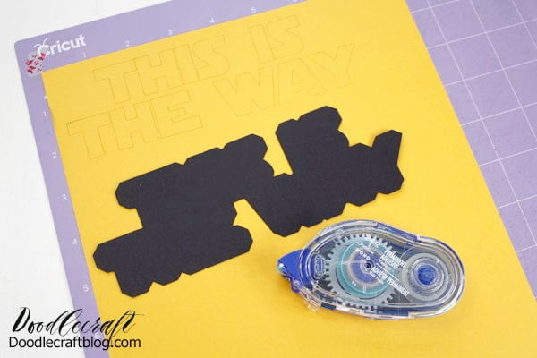 """Layer the cake topper phrase """"this is the way"""" with Tombow permanent adhesive."""