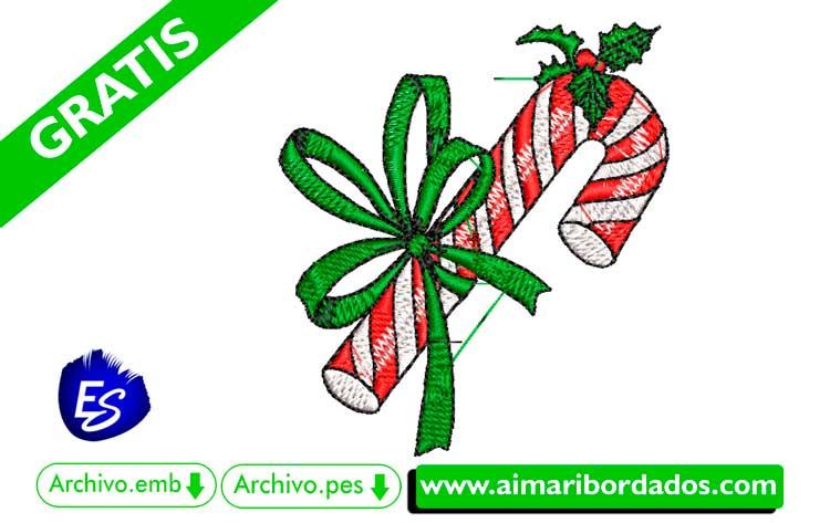 Bastón de navidad para bordar a máquina DESCARGA GRATIS