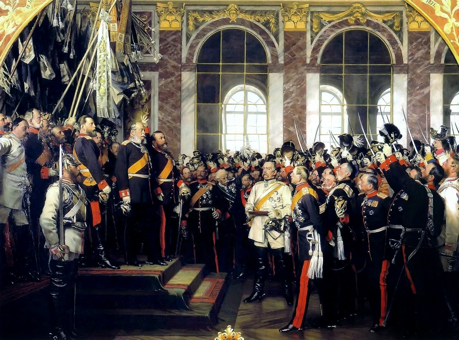 Proclamation of Prussian king Wilhelm I as German Emperor at Versailles in 1871
