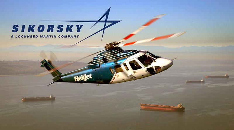 вертолет Sikorsky S-76 в полёте