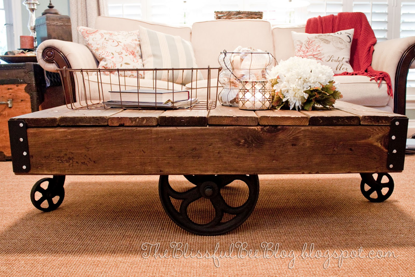 Factory Cart Table Diy Restoration Hardware Inspired The Blissful Bee