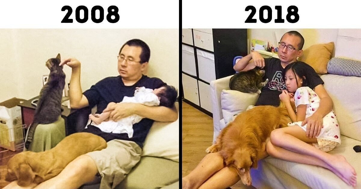 19 Before and After Pictures Show That No Matter How Much Time Passes, Some Things Stay The Same