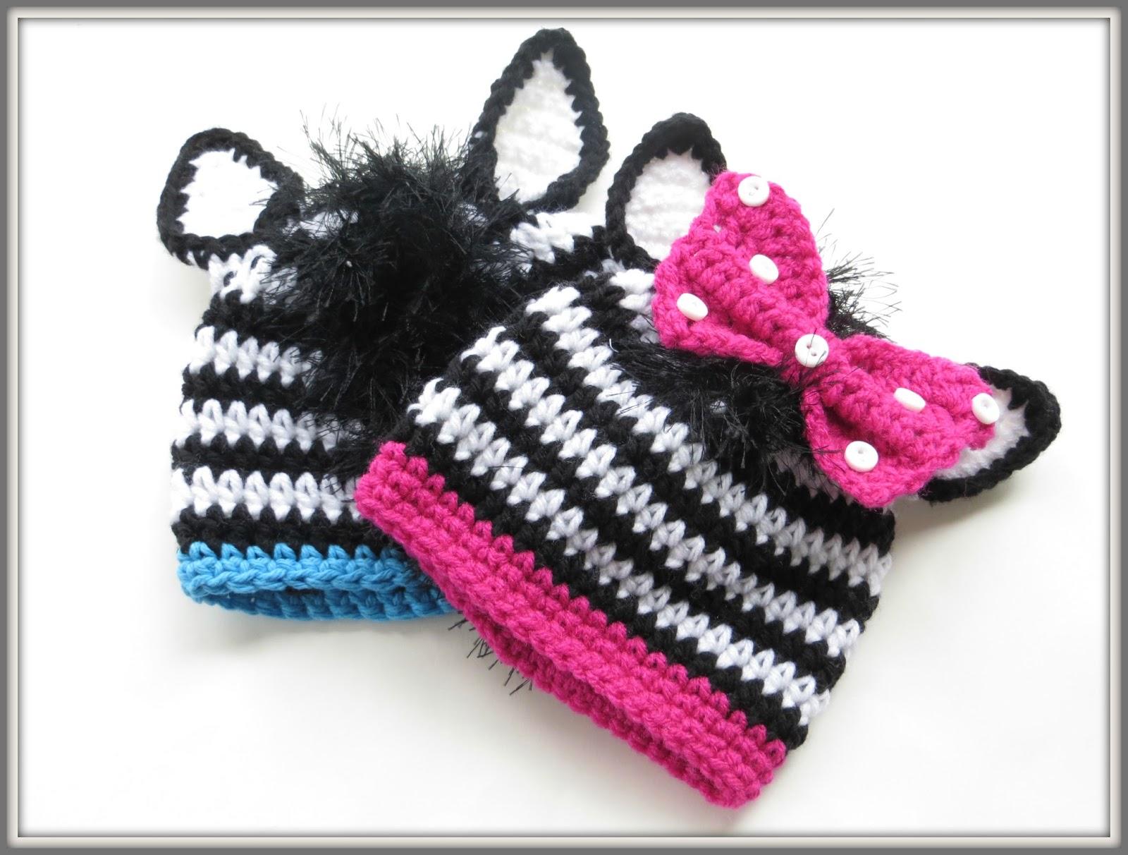 Zebra Hat Knitting Pattern : Crochet dreamz zebra beanie pattern for boys or