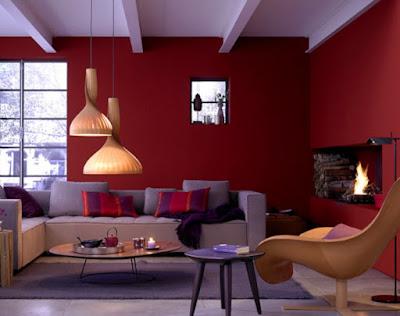 Warna merah menyala pada ruangan