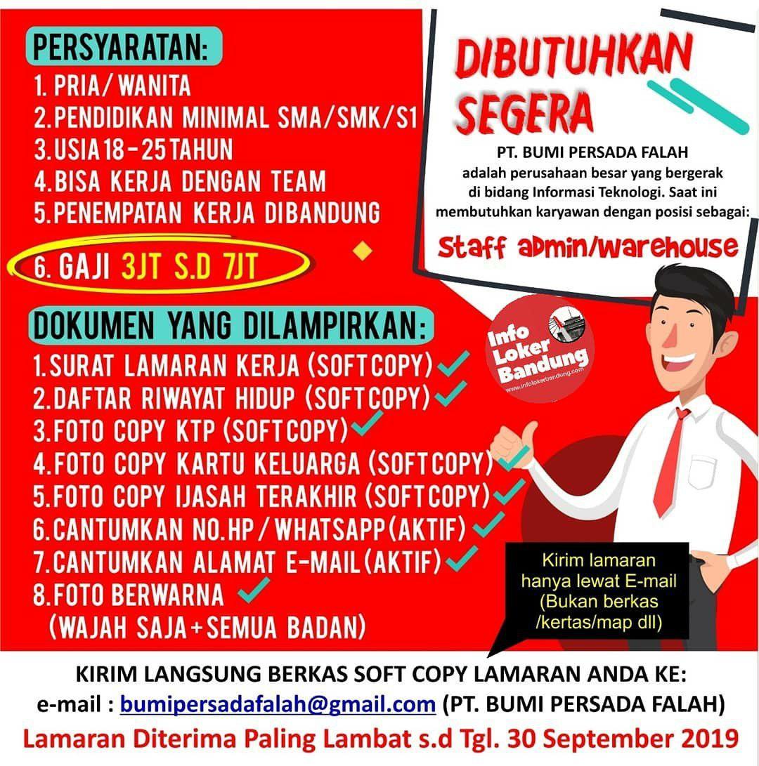 Lowongan Kerja PT. Bumi Persada Falah Bandung Agustus 2019