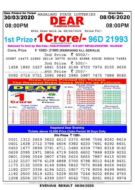 Lottery Sambad Result 30.03.2020 Dear Flamingo Evening 8 pm