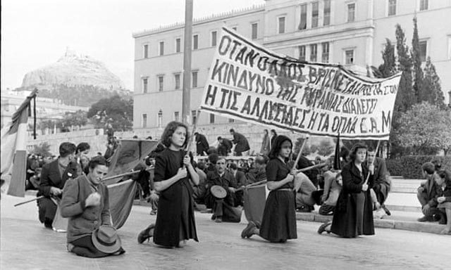 Athens women protesting against the British during World War II worldwartwo.filminspector.com