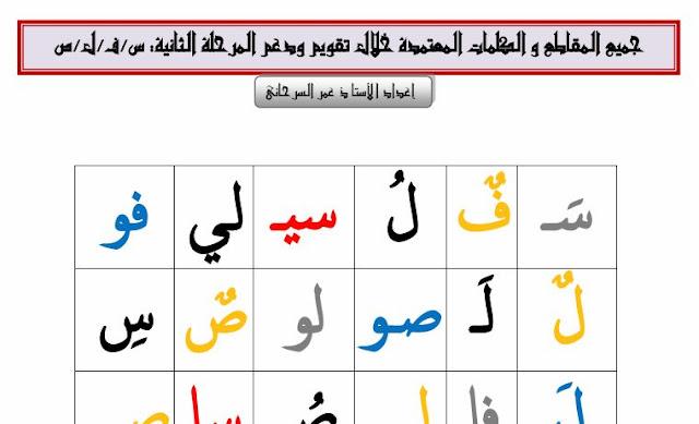 جميع المقاطع والكلمات المعتمدة خلال تقويم ودعم الوحدة الثانية للمستوى الأول ابتدائي