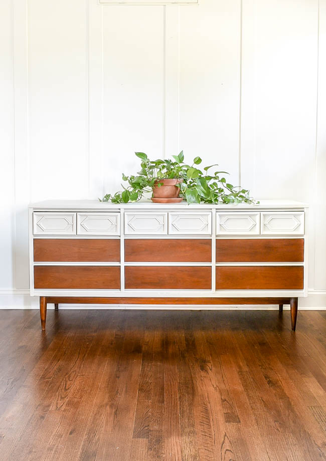 gray and wood mcm dresser