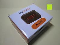Verpackung: kwmobile Wecker Digital Uhr aus Holz mit Geräuschaktivierung, Temperaturanzeige und Tastaktivierung