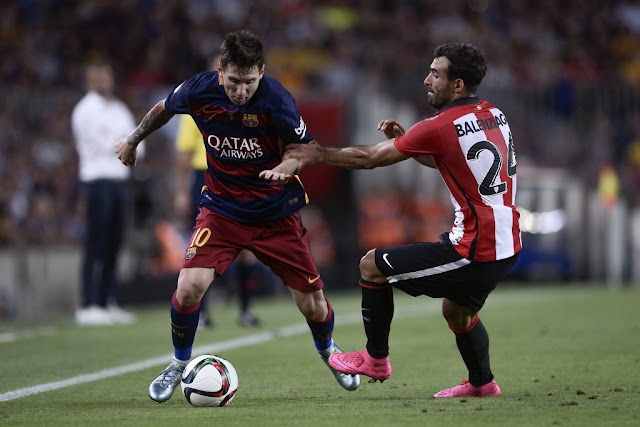Messi marcou o gol do Barcelona no empate em 1 a 1 com o Athletic Bilbao (Foto: Josep Lago/AFP)