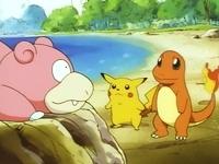 Pikachu y Charmander hablando con Slowpoke