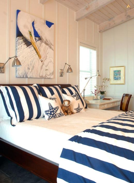 Blue Striped Bedding Coastal Bedroom Idea