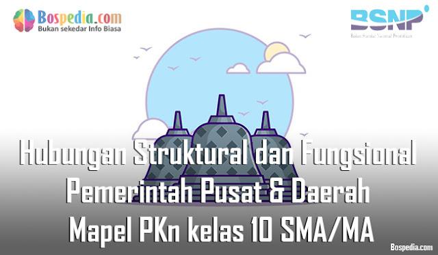 Materi Hubungan Struktural dan Fungsional Pemerintah Pusat dan Daerah Mapel PKn kelas 10 SMA/MA