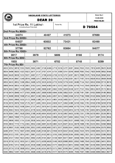 Dear 20 Monthly Lottery Result 13-08-2020