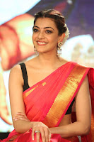 Kajal Aggarwal in Red Saree Sleeveless Black Blouse Choli at Santosham awards 2017 curtain raiser press meet 02.08.2017 040.JPG