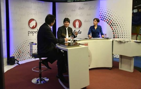 Evo Morales en el primer programa Papel, Tijera y Tinta