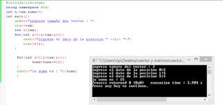 sumar los datos de un vector