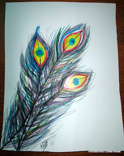 Peacock Feathers on the Virtual Refrigerator art link-up hosted by Homeschool Coffee Break @ kympossibleblog.blogspot.com #art  #VirtualFridge
