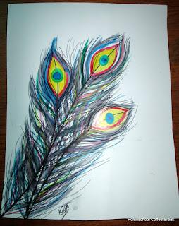 Peacock Feathers on the Virtual Refrigerator art link-up hosted by Homeschool Coffee Break @ kympossibleblog.blogspot.com #art  #VirtualFridge