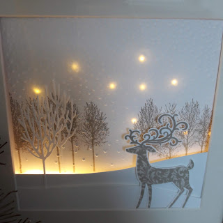 Den Sternenhimmel mit LED Lichterkette im Hintergrund habe ich für den heutigen BlogHop gewerkelt.