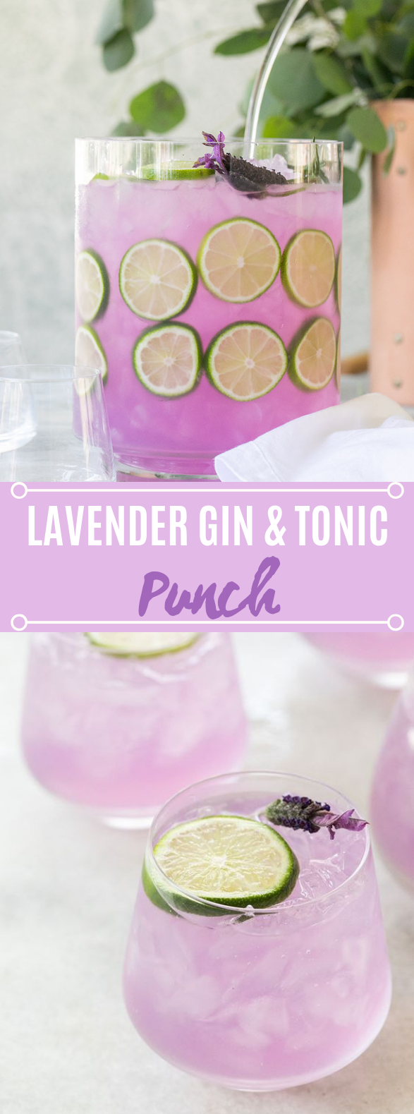 Lavender Gin and Tonic Punch #drinks #cocktails