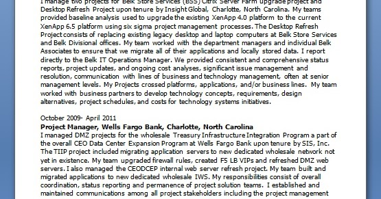 project manager curriculum vitae builder in word
