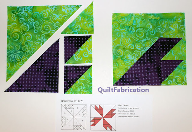 green and purple quilt block