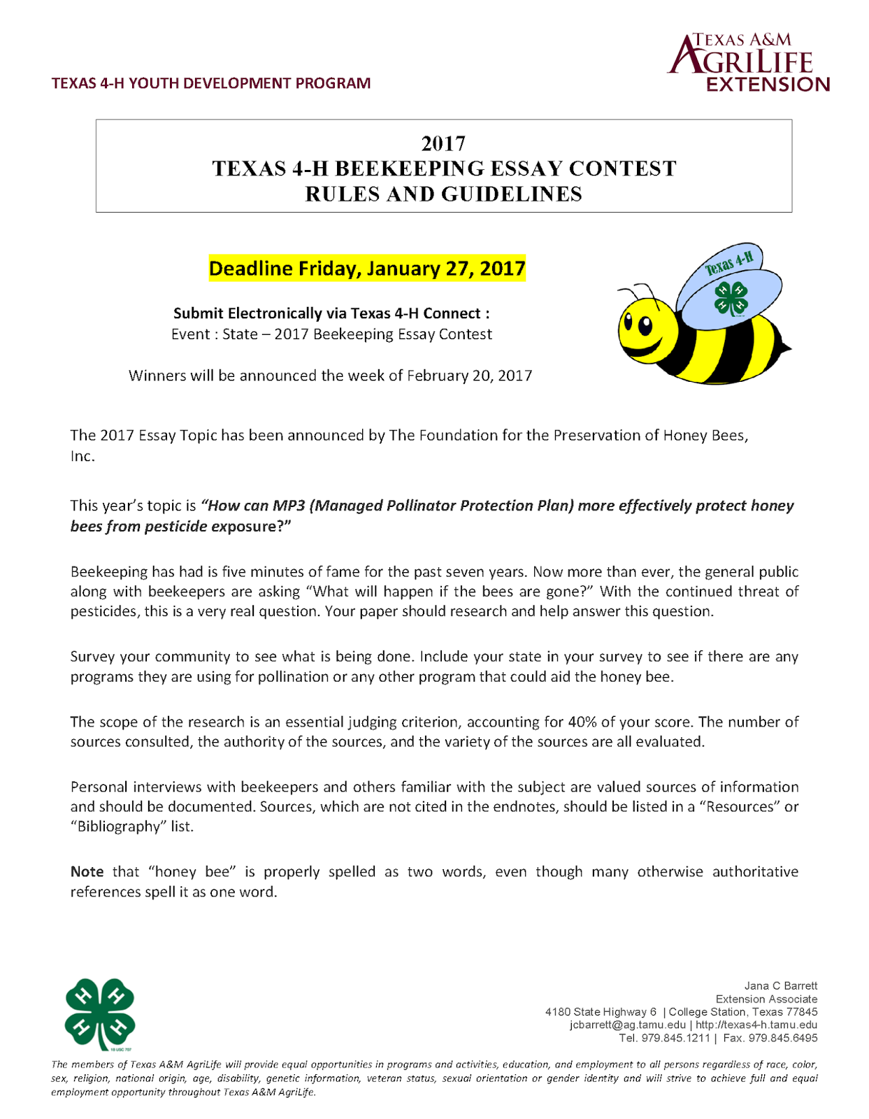 national beekeeping essay contest According to the nash county extension service, this beekeeping essay contest is about to close, with entries due this friday honey bees are hardworking, tirelessly.