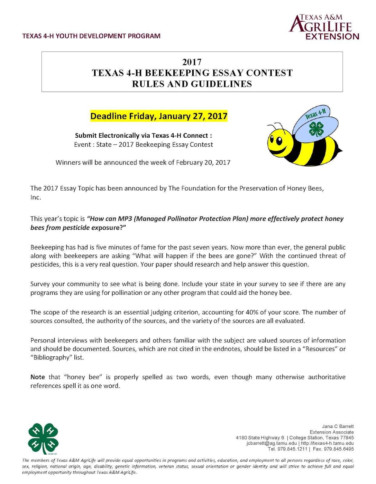 Admission essay writing contest