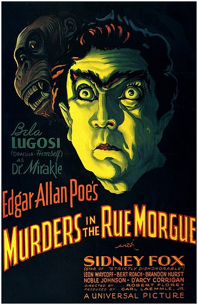 "Theatrical movie release poster for 1932's ""Murders in the Rue Morgue"" with an illustration of Bela Lugosi and a gorilla."