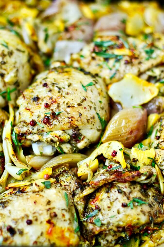Roasted Chicken with Sunchokes and tarragon