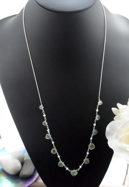 Prehnite and Pearl Necklace