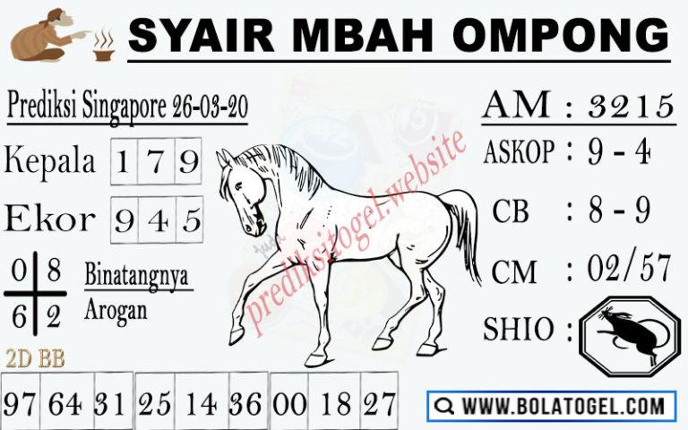 Prediksi Togel Singapura Kamis 26 Maret 2020 - Syair Mbah Ompong