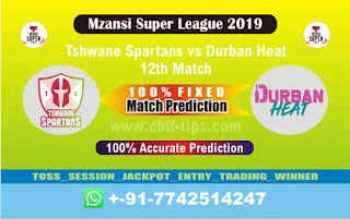 Who will win Today MSL T20 2019, 12th Match Durban vs Spartan, Mzansi T20 2019